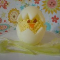 Easter chick deviled eggs.  These are adorable and I have to do them next year!
