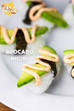 Spicy Avocado Nigiri | The Viet Vegan | Buttery avocado on seasoned sushi rice, and a drizzle of chipotle mayo!