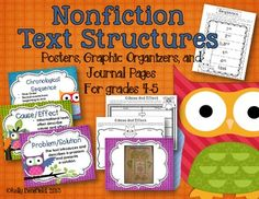 Aligned with Common Core Standards:  Owl Themed Nonfiction Text Structures Packet.  Posters, graphic organizers, and interactive journal pages will help students understand sequence, cause/effect, problem/solution, compare/contrast, and description.  Find on Teachers Pay Teachers.