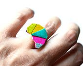 Geometric Leather Ring Triangle Kaleidoscope Color Block