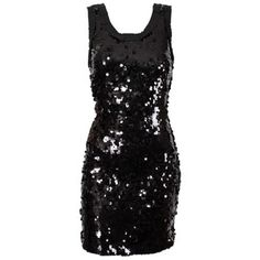 D Black Sequined Dress