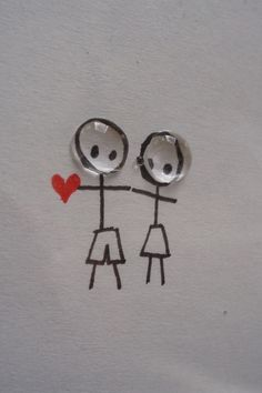 cute stick couple drawing love