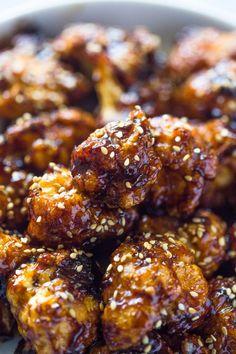 Crispy Sesame Cauliflower Bites | Gimme Delicious