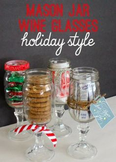 Mason Jar Wine Glasses: Christmas Style