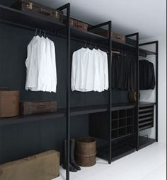 - Wardrobe Organization - Faire un dressing pas cher soi-même facilement A cheap dressing room in black painted wood. Wardrobe Design, Home, Closet Design, Home Bedroom, Bedroom Design, Innovation Design, Interior, Open Closet, House Interior