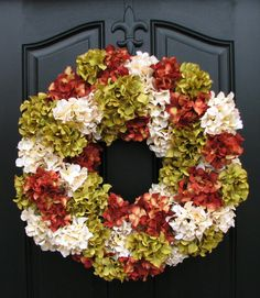 Autumn Wreaths Fall Hydrangea Wreath Fall Wreaths by twoinspireyou  pretty...