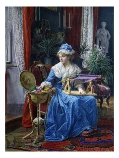 Woman Sewing on Loom Giclee Print by Tito Agujari