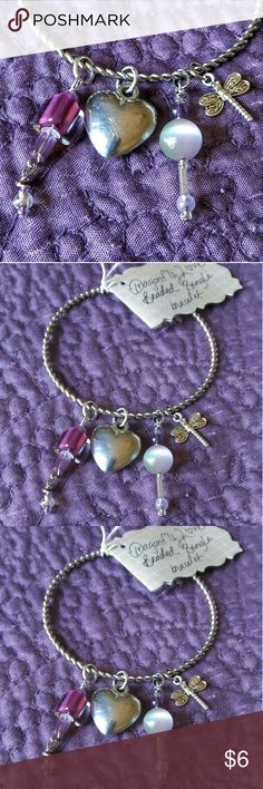 "Silver  Bangle Bracelet with Charms ""Dragonfly Love"" Handmade / Repurposed Jewelry Chakra Jewelry by Carrie Chandler Jewelry Bracelets"
