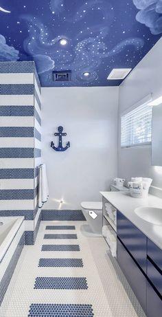 Coastal Style Bathroom - Beach House Decor #beachcottagestylebathroom... Só o tenho é não gosto muito mas o resto está tudo bem conseguido #coastalstylebathroom