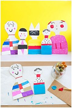 Kid-Made Cardboard Dolls Inspired by Artist Alexander Girard.