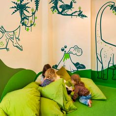 Dinosaur Wall Stickers for Kids Room - Great Boys Room Wall Decor for Playroom by E-Glue Design Studio. #walldecals #wallstickers #dinosaur #boysroom #kidsbedroom #kidswalldecor #playroom