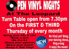 It's OPEN VINYL NIGHT tomorrow (Thurs 2nd Feb) the first one was great, lots of different music, everyone chatting & reminiscing. Bring your vinyl, spin it & enjoy a night out with a difference! #openvinylnights #theleopard #vinylrecords #45s #78s #LPs #theleopardtutbury #allgenres #bringitandspinit #swapandsell #tutbury #audiophile #anytunes #records