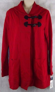 CHAPS Ralph Lauren DENIM Red Duster Toggle Shawl Neck Sweatercoat Size S #Chaps #Cardigan