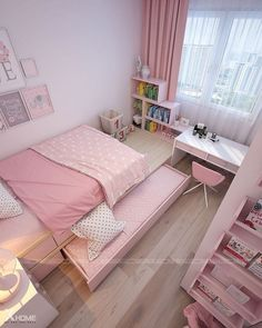 Trendy bedroom ideas for small rooms for teens for girls decor Ideas Room Design Bedroom, Small Bedroom Designs, Room Ideas Bedroom, Small Room Bedroom, Trendy Bedroom, Bedroom Colors, Bedroom Decor, Tiny Girls Bedroom, Small Rooms