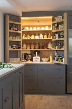 kitchen pantry design Farmhouse kitchen style will be impeccable thought whether you need to have family assembling in your kitchen amid feast time. Kitchen Pantry Design, Rustic Kitchen Design, New Kitchen Cabinets, Home Decor Kitchen, Kitchen Styling, Kitchen Interior, Farmhouse Design, Kitchen Ideas, Kitchen Organization