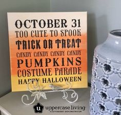 """DIY for Halloween!  12 x 12"""" canvas, 3 paint colors and our Halloween expression!  Easy Peasy! #uppercaseliving #Halloweendecor #vinyl #quotequeen"""