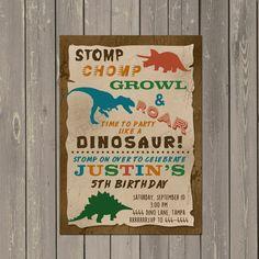 Dinosaur Birthday Invitation Trex Dino Birthday Party Invite