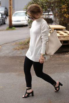 For a casual-chic look, pair a Gap turtleneck with your favorite black skinnies and heels. We love how blogger The Locus of Style mixes neutral colors for a stroll.