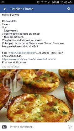 Maklike Quiche Quiche Recipes, Tart Recipes, Cooking Recipes, Healthy Recipes, Kos, Savory Snacks, Savoury Dishes, Savoury Tarts, Quiches