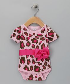 Take a look at this Pink Leopard Bling Bow Bodysuit - Infant by Little Diva on #zulily today!