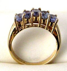 Mid Century Ring 14kt Solid Gold With 5 Oval Tanzanites Engagement. .