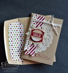 "3-1/2"" x 5"" crumb cake note card and envelope, Season of Style dsp, festive flurry framelits, white baker's twine, artisan label punch, lace doily, silver glimmer paper, cherry cobbler ink and cs, many merry messages, envelope liner framelits"