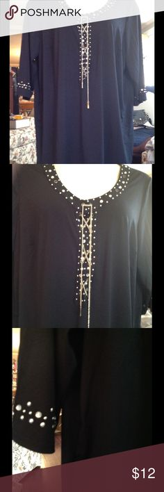 Beautiful tunic Scoop neck embellished tunic. Three quarter length sleeves. Brand new.  Never worn. Tags removed Denim 24/27 Tops Tunics