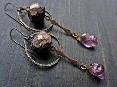 """Artisan earrings with polymer clay art beads and amethyst- """"The Magi"""""""