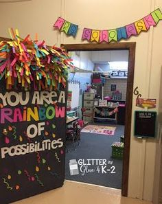 Glitter and Glue 4 K-2: My Classroom Check out my classroom reveal! Keywords: rainbow door, classroom door, fun door chalkboard theme, neon classroom, classroom inspiration, classroom organization, door decorating, happy classroom, bright classroom, back