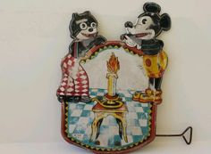 Vintage Antique Tin Toy R S La Isla Spain Mickey Mouse Felix Cat Very Rare