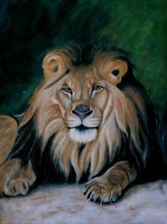 Oroszlán  1999. Olaj, vászon 100 x 75 cm