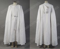 Gandalf  White Robe Cape costume  for The Lord of the Rings  Cosplay