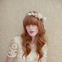 Bridal crown flower crown flower tiara head wreath by LoBoheme, $128.00