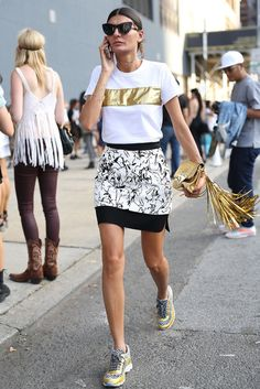 NYFW Street Style Day 4 #nyfw #ss15.. seeing lots of casual/sporty with prints