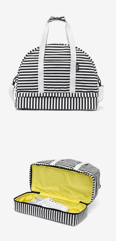 Stripes weekender bag with clever shoe storage underneath // love this #productdesign