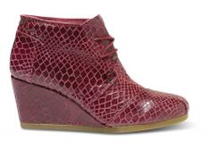 What I want for Christmas!! TOMS+ Oxblood Serpentine Women's Desert Wedges | TOMS.com #toms