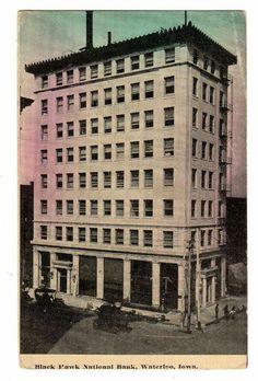 1914 Waterloo Blackhawk National Bank Waterloo Iowa, Big Ben, Sweet, Travel, Voyage, Viajes, Traveling, Trips, Tourism