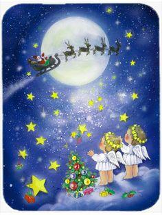 Angels watching Santa Claus Mouse Pad - Hot Pad or Trivet APH0690MP #artwork #artworks