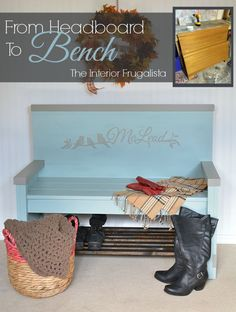 Entry Bench with Shoe Storage Repurposed  from 50's Headboard | The Interior Frugalista