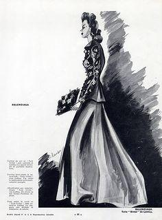 1939 Cristobal Balenciaga, Jacket Embroidered Multicoloured Spangles, Fashion Illustration