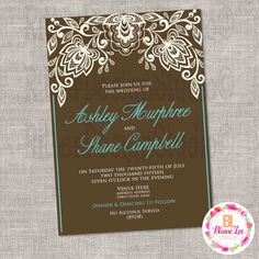 Brown Teal Lace Wedding Invitation - Digital File by BlaineLeeCo on Etsy https://www.etsy.com/listing/469846457/brown-teal-lace-wedding-invitation