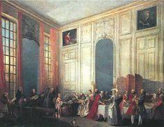 Michel Barthélémy Ollivier Le Thé à l'anglaise servi dans les salons des Quatre-Glaces au palais du Temple à Paris en 1764