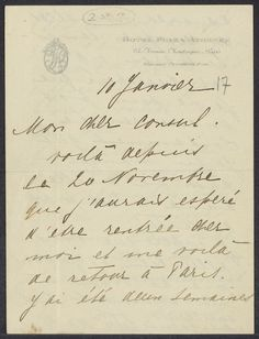 #2 of 2 Letter and photograph sent by Mata Hari one month before her arrest for espionage in February 1917. She was executed by French firing squad in October of that year.  Zelle, Margaretha Geertruida, 1876-1917. A.L.s. to `mon cher consul'; Paris, 10 Jan [1917]