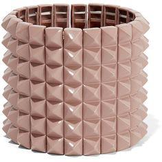 Valentino - Rockstud Enameled Gold-tone Bracelet ($597) ❤ liked on Polyvore featuring jewelry, bracelets, neutral, valentino jewelry, enamel jewelry, goldtone jewelry, enamel bangle and gold tone jewelry