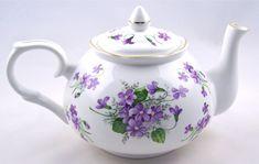 Victorian Tea Pots And Cups | ... Bone China Teapot - Crown Victorian - Wild Violet Chintz - Teapots