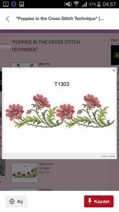 7 And 7, Cross Stitch Embroidery, Poppies, Diy And Crafts, Towels, Types Of Flowers, Punto De Cruz, Dots, Weekly Menu