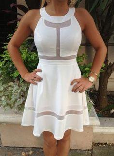 White Party Dress - White Skater Dress with Mesh