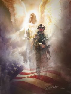 God's soldiers, guardian angels: may they watch over and protect our brave soldiers and their families where they are stationed, or are fighting for our country, in Yeshua Jesus' Name. My Champion, Army Mom, Angels Among Us, Support Our Troops, Real Hero, American Soldiers, American Flag, American Pride, Guardian Angels