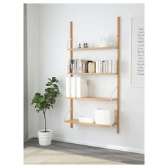 IKEA - SVALNÄS, Wall-mounted shelf combination, , With a spacious storage solution everything has its place; makes it easy to find your things.Shelves of different depths and widths mean you have space for everything from trinkets to books. Ikea Wall Shelves, Wall Mounted Bookshelves, Ladder Bookcase, Svalnäs Ikea, Boutique Deco, Cube Storage, Storage Organizers, Storage Solutions, Cleaning Wipes