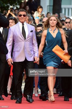 """Sylvester Stallone and Ronda Rousey attend """"Expendables Premiere at the Annual Cannes Film Festival on May 2014 in Cannes, France. Get premium, high resolution news photos at Getty Images Ronda Rousey Wwe, Ronda Jean Rousey, Ronda Rousey Photoshoot, Rounda Rousey, Warrior Fashion, Silvester Stallone, Rowdy Ronda, Wwe Wallpaper, Wrestling Superstars"""